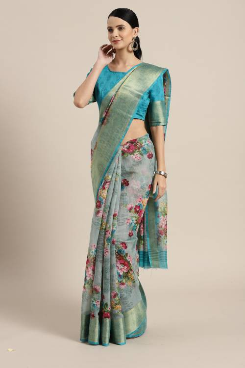 Green Linen Printed Saree With Blouse Piece