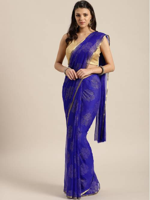Blue Chiffon Saree With Unstitched Blouse Material