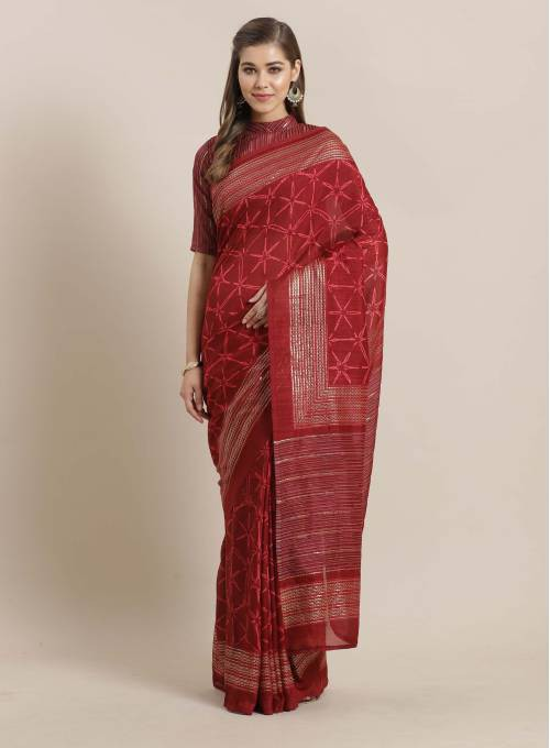 Sareemall Maroon Georgette Printed Saree With Blouse Piece