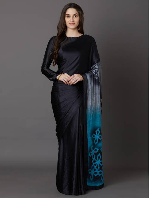 Sareemall Black Crepe Printed Saree With Blouse Piece