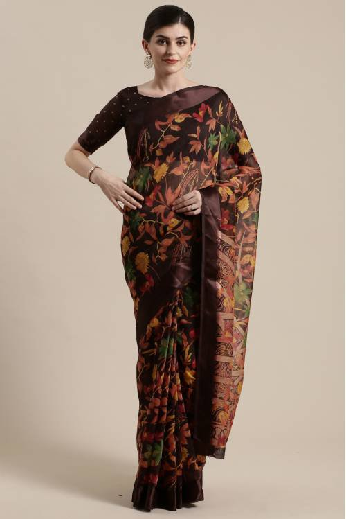 Sareemall Brown Cotton Silk Printed Saree With Blouse Piece