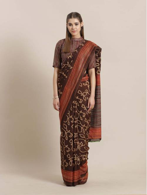 Sareemall Brown Georgette Printed Saree With Blouse Piece
