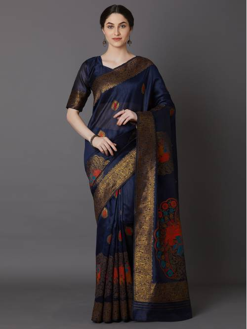 Sareemall Navy Silk Blend Embellished Saree With Blouse Piece