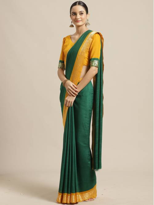 Sareemall Green Georgette Solid Saree With Blouse Piece