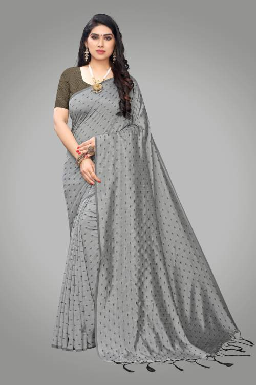 Sareemall Grey Silk Blend Butti Saree With Blouse Piece