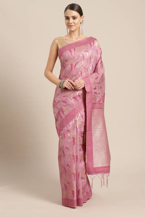 Sareemall Pink Cotton Silk Woven Saree With Blouse Piece