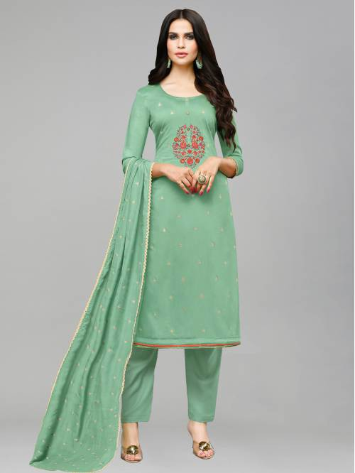 Sareemall Light Green Silk Blend Embroidered Unstitched Straight Suit
