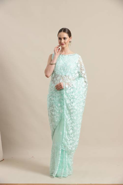 Sareemall Sea Green  Organza Embroidered Saree With Blouse Piece