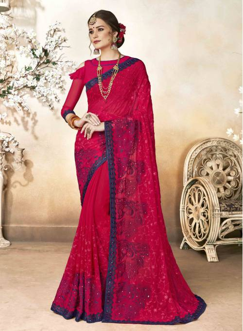 Red Georgette Embroidered Partywear Saree With Blouse Piece
