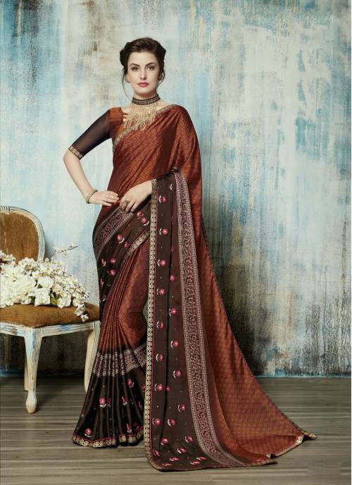 Rust Silk Embroidered Traditional Saree With Blouse Piece
