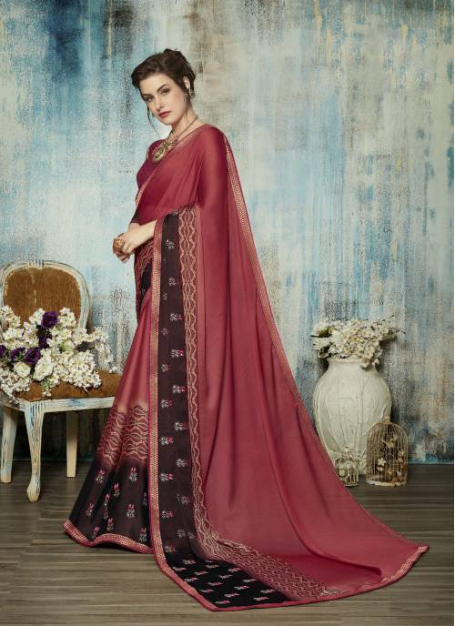 Pink Silk Embroidered Traditional Saree With Blouse Piece