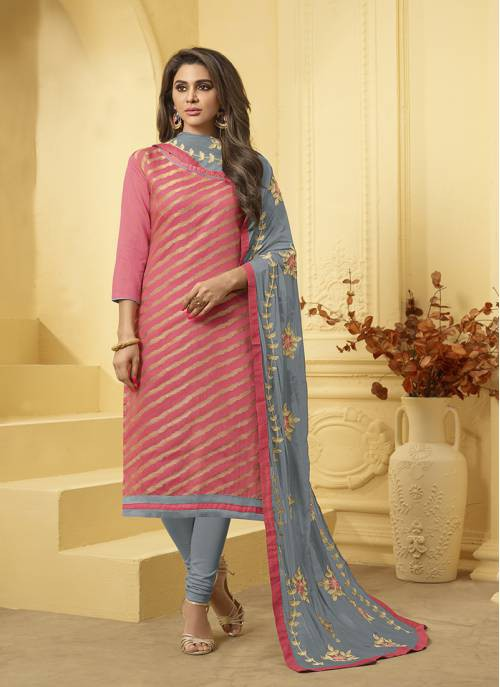 Craftsvilla Peach Silk Embroidered Unstitched Salwar Suit