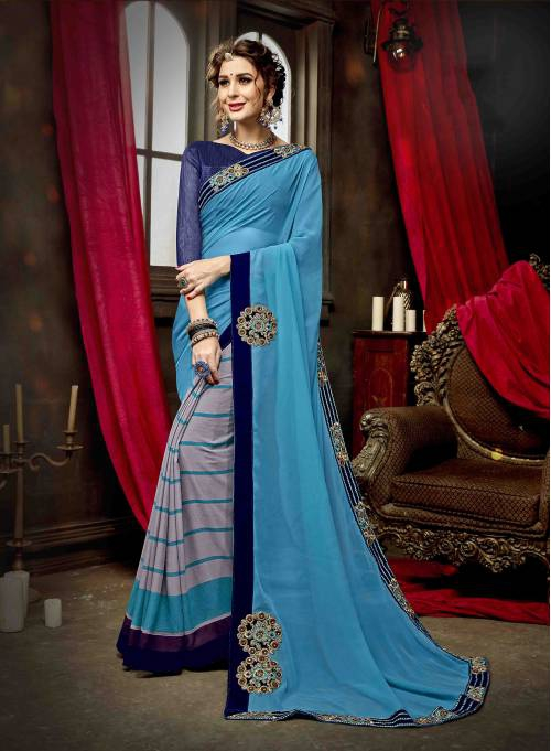 Sky Blue Georgette Embroidered Partywear Saree With Blouse Piece