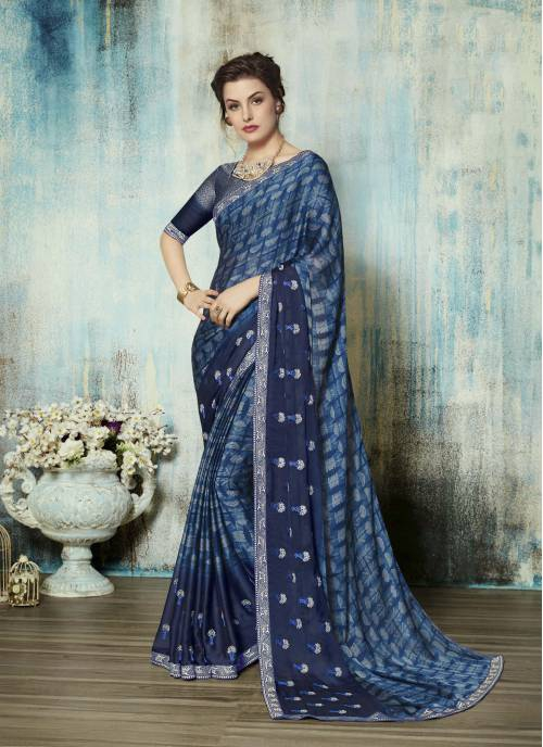 Blue Silk Embroidered Traditional Saree With Blouse Piece