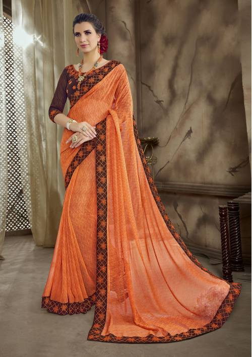 Orange Georgette Lace Work Traditional Saree With Blouse Piece