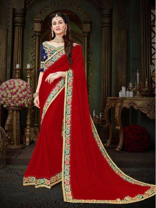 Craftsvilla Red Color Georgette Lace Work Designer Saree With Unstitched Blouse Material