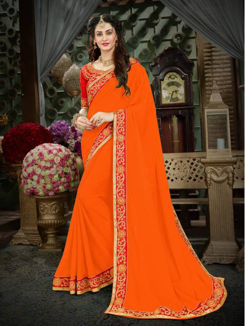 Craftsvilla Orange Color Georgette Lace Work Designer Saree With Unstitched Blouse Material