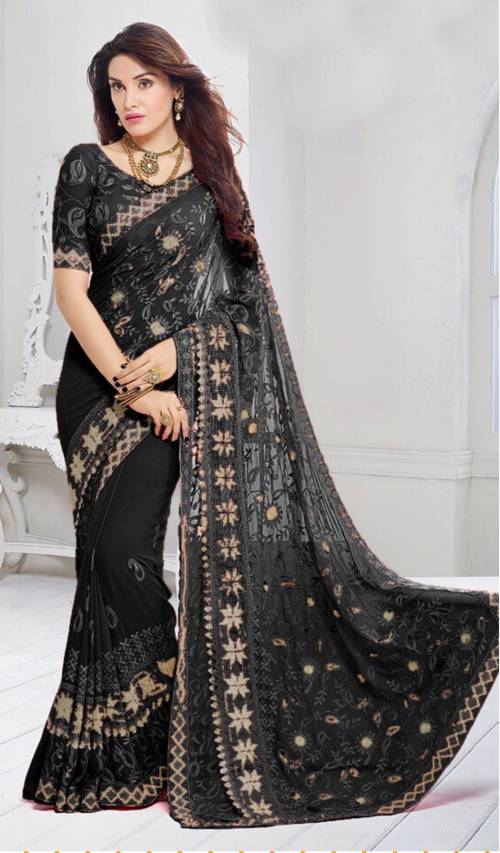 Craftsvilla Black Color Chiffon Resham Embroidered Designer Saree