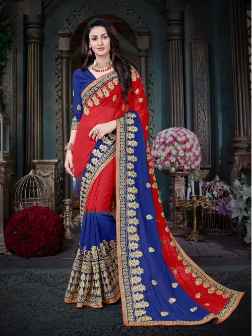 Red And Blue Color Georgette Embroidered Designer Saree With Unstitched Blouse Material