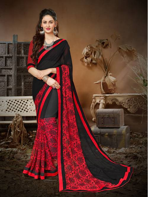 Black And Red Color Georgette Printed Designer Saree With Unstitched Blouse Material