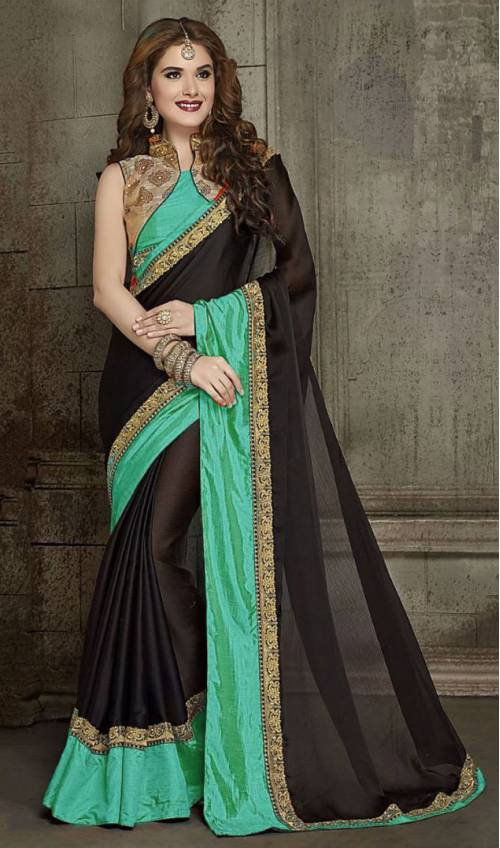 Craftsvilla Green Color Chiffon Designer Resham Embroidery Saree