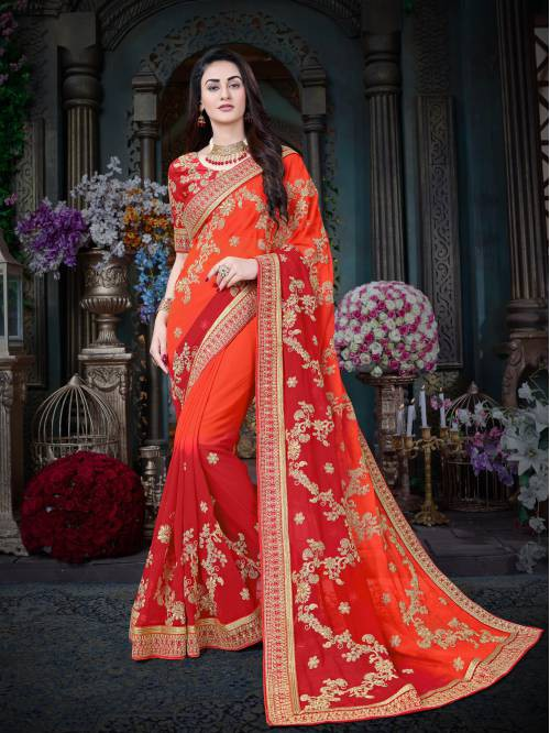 Orange And Red Color Georgette Embroidered Designer Saree With Unstitched Blouse Material