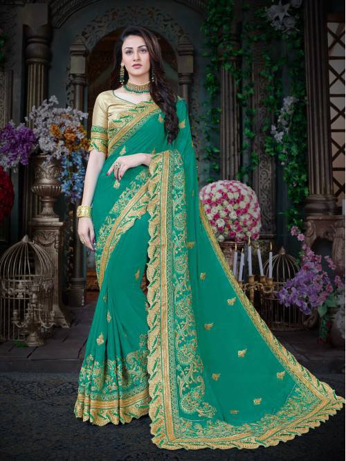 Blue Color Georgette Embroidered Designer Saree With Unstitched Blouse Material