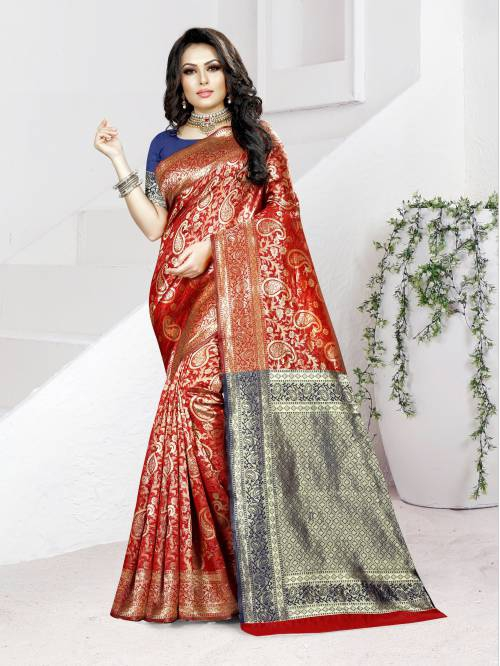 Red Banarasi Silk Designer Woven Saree With Unstitched Blouse Material