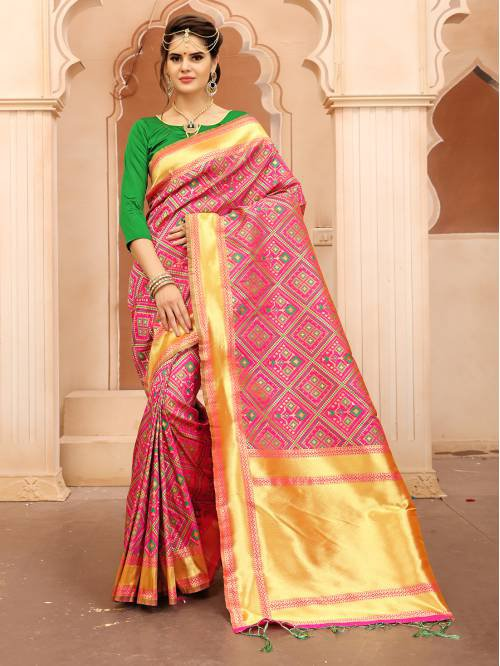 Orange And Green Color Banarasi Silk Patola Style Saree