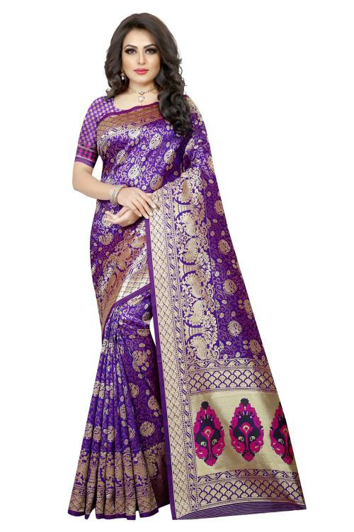 Purple Banarasi Silk Designer Woven Saree With Unstitched Blouse Material