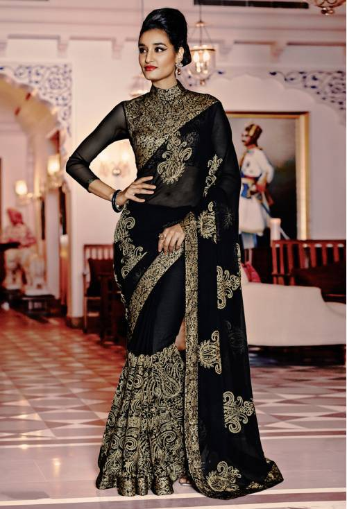 Craftsvilla Black Color Georgette Embroidered Designer Saree With Unstitched Blouse Material