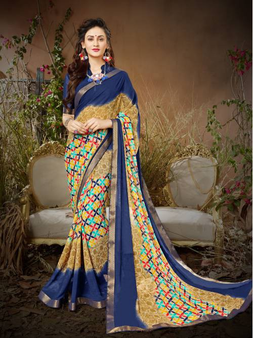 Blue And Beige Color Georgette Printed Designer Saree With Unstitched Blouse Material
