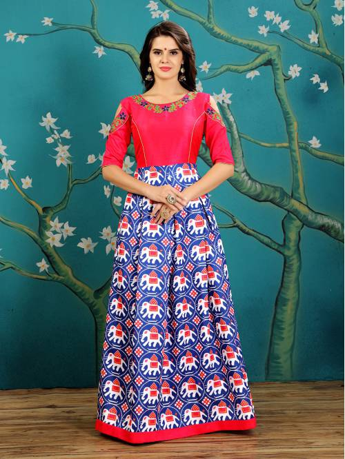 Blue Color Silk Embroidered Designer Gown