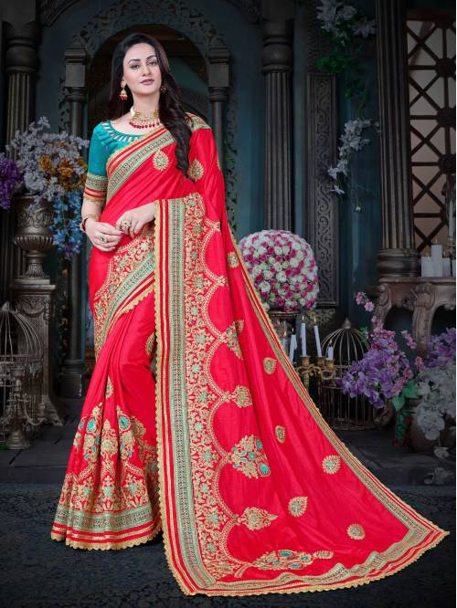 Craftsvilla Pink Color Art Silk Embroidered Designer Saree With Unstitched Blouse Material