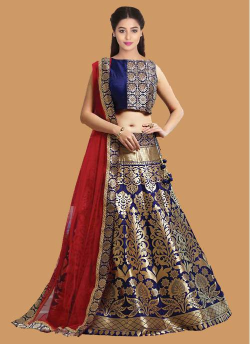 Navy Blue Color Jacquard Lehenga Choli