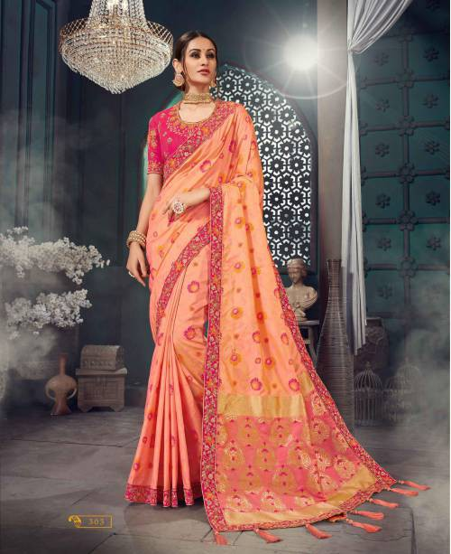 Peach Banarasi Art Silk Embroidered Lace Saree With Unstitched Blouse Piece\n