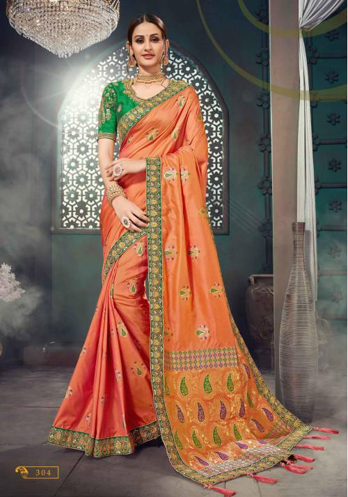 Orange Banarasi Art Silk Embroidered Lace Saree With Unstitched Blouse Piece\n