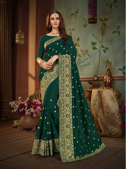 Craftsvilla Green Silk Blend Resham Embroidered Traditional Saree With Unstitched Blouse Material