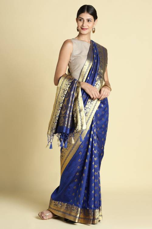 Craftsvilla Blue Color Bangalore Silk Saree With Zari Border And Unstitched Blouse Material