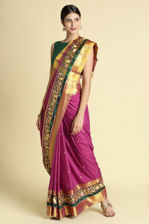 Pink Color Poly Cotton Saree With Traditional  Double Zari Border Work And Unstitched Blouse Material