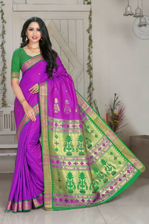 Craftsvilla Purple Color Silk Blend Buti Work Designer Saree