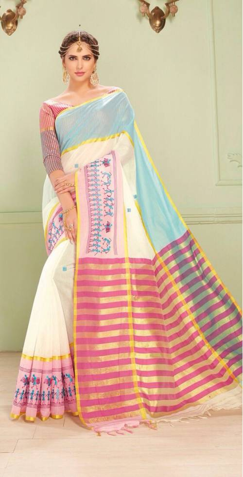 Craftsvilla  White Color Kota Cotton Saree With Warli Embroidered Border And Unstitched Blouse Material