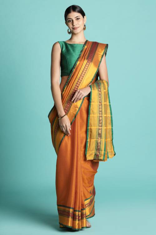 Orange Color Cotton Saree With  Traditional Pallu And Unstitched Blouse Material