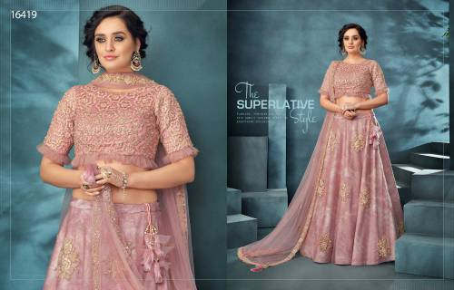 Pink Net Embroidered Saree With Blouse Piece