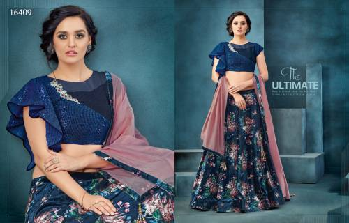 Blue Velvet Sequined Saree With Blouse Piece