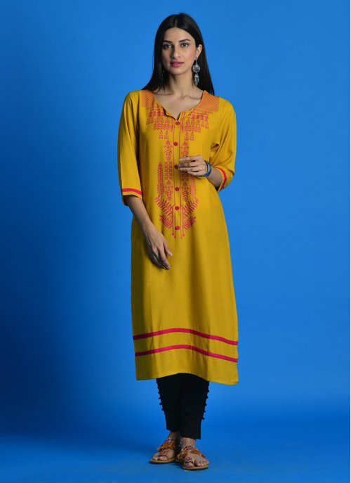 Mustard Yellow Notched Round Neck Printed Kurti With 3/4th Sleeves