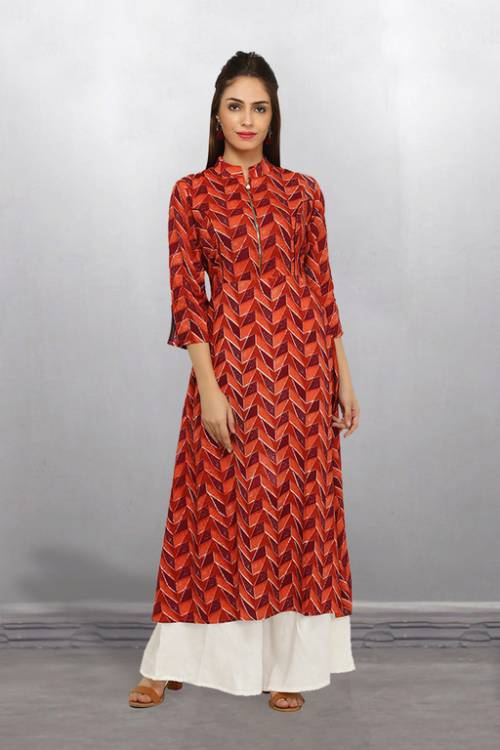 Red Rayon Embellished Ankle Length A Line Style Kurti