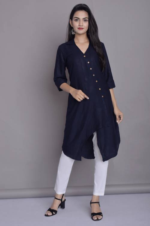 Blue Rayon Plain Knee Length Kurti