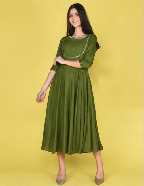 Green Rayon Gota Work Knee Length Kurti