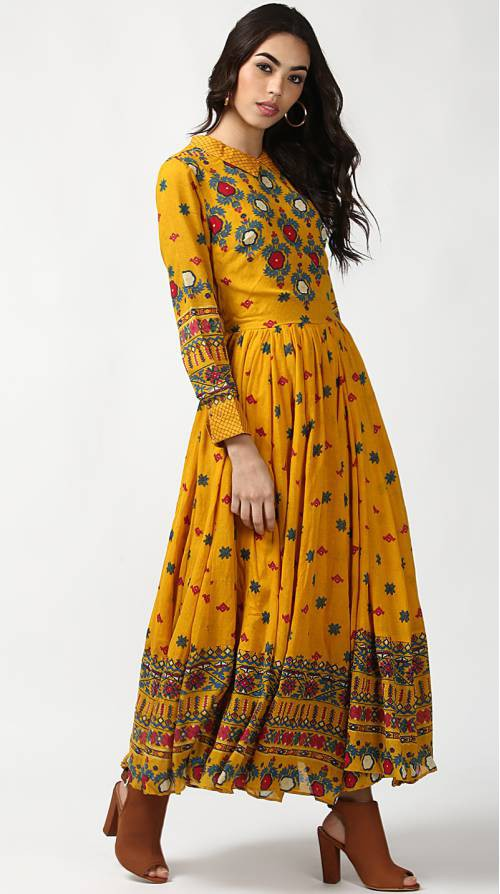 Yellow Rayon Printed Floor Length Kurti